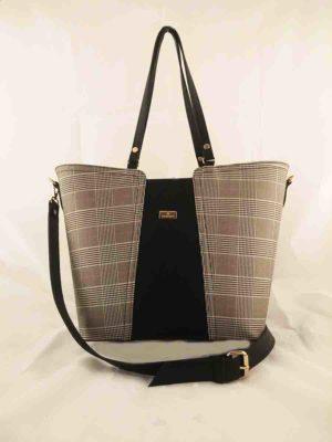Τσάντα ώμου Μαύρο-Καρώ