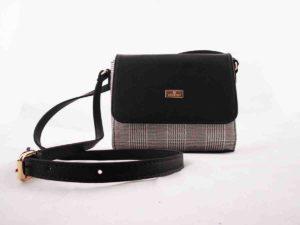 Τσάντα χιαστί Μαύρο-Καρώ