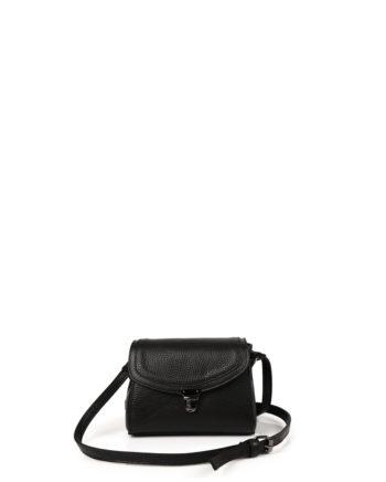 Γυναικεία δερμάτινη τσάντα χιαστί Μαύρη