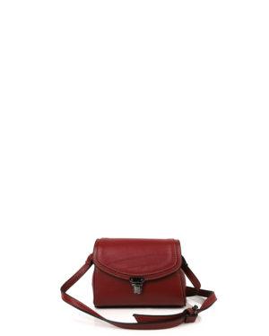 Γυναικεία δερμάτινη τσάντα χιαστί Μπορντώ