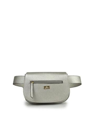 Γυναικεία τσάντα μέσης oval F Ασημί