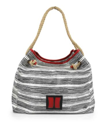 Γυναικεία τσάντα ώμου hobo Stripy Λευκό