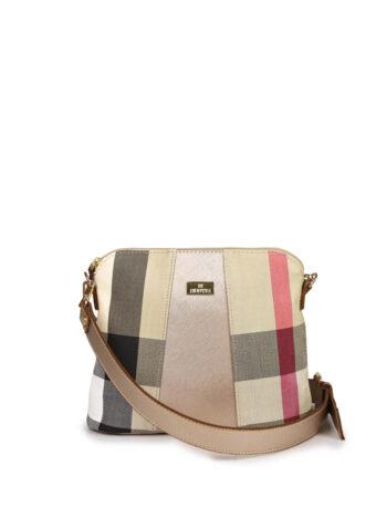 Γυναικεία τσάντα χιαστί Καρώ Μπεζ