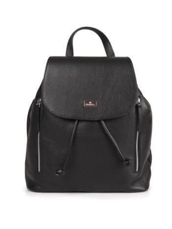 Γυναικεία δερμάτινη τσάντα πλάτης Μαύρη