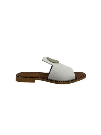 Γυναικείο Υπόδημα Δερμάτινο flat disk Λευκό