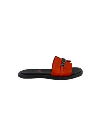 Γυναικείο Υπόδημα Δερμάτινο flat chain Πορτοκαλί