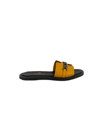 Γυναικείο Υπόδημα Δερμάτινο flat chain Κίτρινο