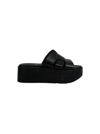Γυναικείο Υπόδημα Δερμάτινο platform knitted Μαύρο