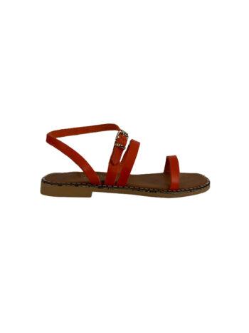 Γυναικείο Υπόδημα Δερμάτινο sandals Πορτοκαλί
